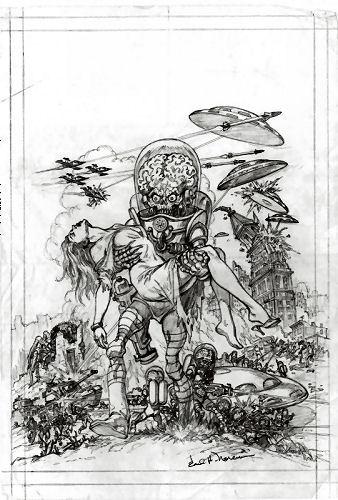 Mars Attacks ! Earl Norem original Pencils